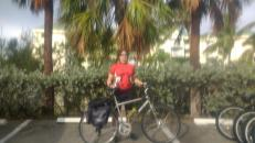 Departing the condo (blurry because phone is in a ziplock bag)